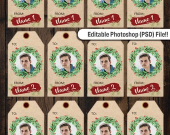 Editable Personalized Photo Christmas Gift Tags Printables, Photo Tags Printable, Photo Christmas Tags Printable, Gift Tags Printable
