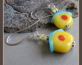Cornerstoregoddess Spring Bird Birdhouse  Earrings