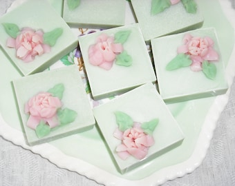 Guest Soaps / Miniature Soaps / Set of 2 small Decorative Flowered Soaps / Handmade Cold Process Soap