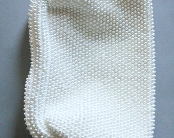 Vintage 60's White Beaded Clutch Purse by Corde Bead