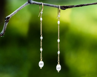 Gold earrings Dangle earrings Earrings dangle Pearl earring Bridesmaid gift Earrings Pearl jewelry earrings Bridal handmade earrings 635