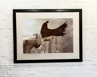 Batman, Dark Knight, Gotham, Superhero, DC, Comics, Nerd,New York,NYC, 11x14, Print, Artwork, Painting,Decor,Surreal,Art,Gift for Geek,Art