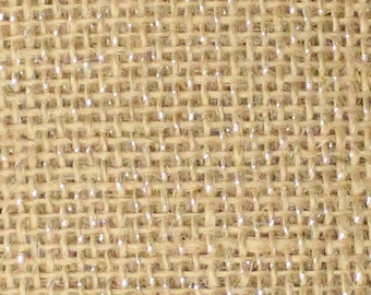 "Burlap Jute Natural SPARKLE GLITTER SILVER Fabric / 52"""" Wide / Sold by the yard"