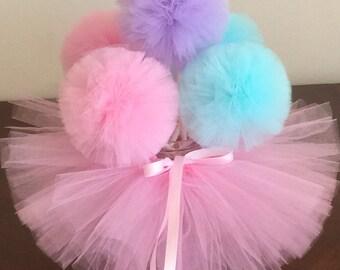 5 tulle pom pom wands Party Decoration,princess Party Centerpiece, Tutu pom pom wands,Tutu Table