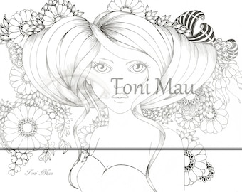 Ella – Digital Download Coloring Page, Adult Coloring, Relaxing, Digi Stamp, Printable, PDF file.