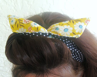 Reversible Dolly Bow Wire Headband Black Polka Dots over Yellow Flower Daisies Girl Teen Woman