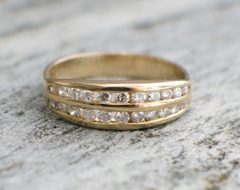 Double Diamond Channel Set 14K Gold Ring Band