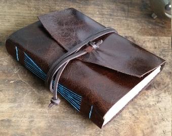 Handmade Leather Journal, Dark Brown Hand-Bound 4.75 x 6 Journal by The Orange Windmill on Etsy 1825