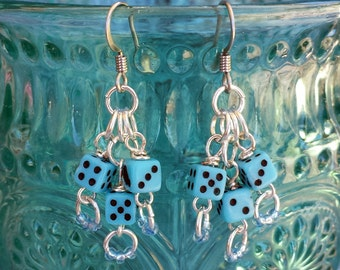 Blue Dice Earrings