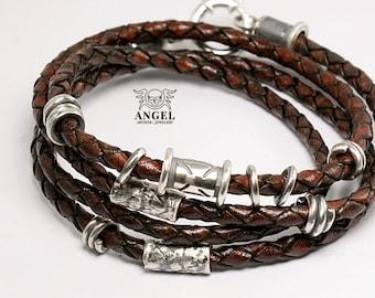 Bracelet 100%  Sterling Silver - Mens Bracelet - Rustic Bracelet - Rocker Jewelry - Natural Leather Jewelry