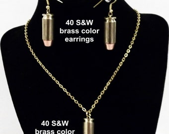 Real 40 S&W bullet ( 10 mm ) Earrings and/or Necklace in Brass or Nickle color
