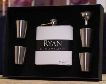 Flasks for Groomsmen, Groomsmen Gift Set, Personalized Flask Set
