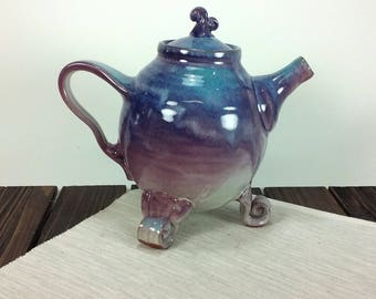 Teapot Purple and teal blue teapot blue ceramic teapot ceramic teapots pottery teapot unique tea pot by Wendy Summers Summer Hollow Pottery