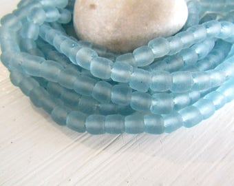 Blue  Recycled glass bead, blue no2 irregular barrel tube beads,  translucent frosted matte finish , Indonesia  (16 beads)  7ak8-9