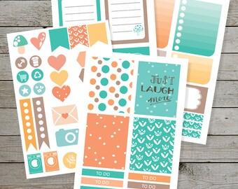 Printable Planner stickers - Erin Condren - Bullet Journal - Orange Brown Aqua - checklist stickers - planner icons - monthly stickers