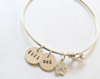 Personalized Pet Bracelet, Pet Mom, Pet Memorial Jewelry, wife gift, gift for her, Pet Lover Gift, Cat Jewelry, Custom Pet Jewelry,