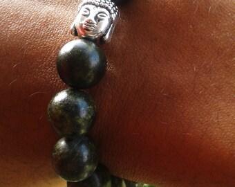 Serpentine Jade Meditation Charm Bracelet