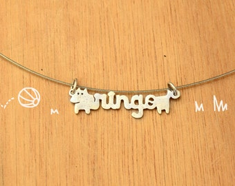 Dog with name -Personalized Pet Necklace-Sterling Silver-Animal Dog Pendant