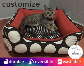 Cat Bed that you design | Kitty Bed, Bolster Cat Bed, Cozy Cat Bed | Orange, Brown, Polka Dot | Washable
