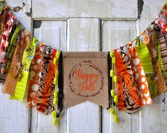 Happy Fall pumpkin fabric rag banner, garland, Amy Butler fabrics, burlap, Autumn pumpkin patch photo prop Fall party decor decoration