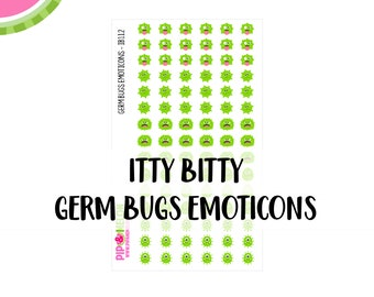 ITTY BITTY Germ Bugs Emoticons |  90 Kiss-Cut Stickers | Sickness, Illness , Barf, Flu, Virus | IB112 |