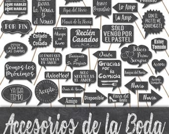Wedding Photo Booth Prop Signs and Decorations in Spanish - Accesorios de la Boda en Español -  50+ Chalkboard Style Wedding Printables