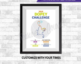 2018 Dopey Challenge- Digital File & Print options available, Custom Map, Race Map, GPS Map, Running Map, Course Route, Race Results