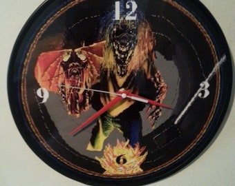 Iron Maiden - Eddie - Number Of The Beast -12 inch round wall clock / made from recycled album Priority Mail