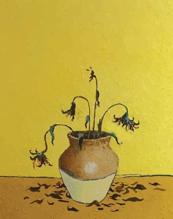BANKSY Canvas van Gogh\'s Sunflowers Banksy Graffiti Wall