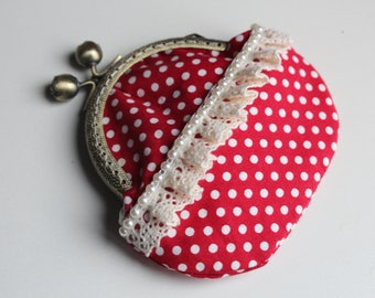 Polka-dots Vintage style Coin Purse, Vintage Purse, Red white polka dots, Kiss lock coin pouch, Coin Pouch, Small gift for mom, Mothers day