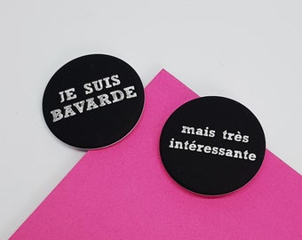 """2 badges chalkboard school - french message """"i am grouchy"""" and """"but i'm always right"""""""