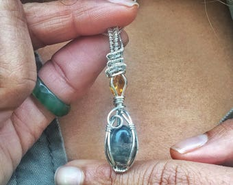 Moss Agate & Citrine necklace- Sterling silver
