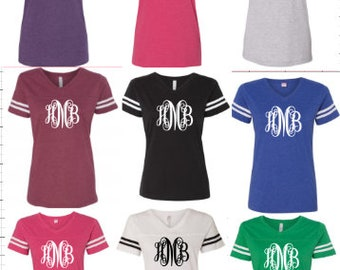 Scroll Monogram Initial Jersey Shirt Vintage Football Jersey You Choose Color