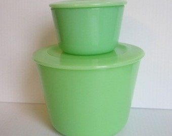 Vintage McKee Jadeite Canisters Skokie Green