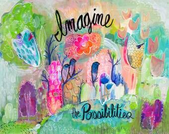 Féminin Wall Art, Abstract Art botanique, motivation Print, oeuvre rose, les filles de chambre Decor, cadeau pour elle, crèche de l'Art, jet d'encre