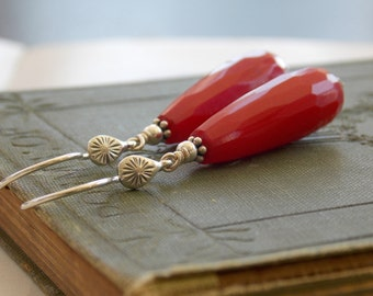 Red Jade Drops, Sterling Silver Earrings, Modern Simplicity
