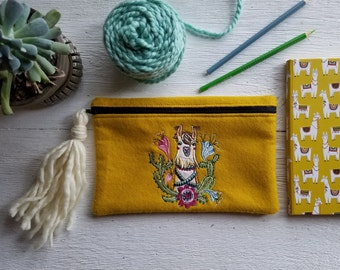 Llama Essential Bag | Notions Bag | Travel | Clutch | |Cosmetic | Toiletry | Embroidered | Felt