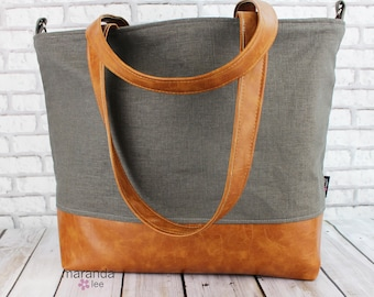 Extra Large Lulu Tote with Charcoal Gray Linen and PU Leather -READY to SHIP  Beach Dance Travel Bag 7 pockets