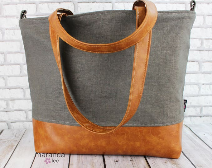 Extra Large Lulu Tote with Charcoal Linen  -READY to SHIP