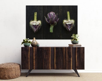 artichoke v. two // food photography print // kitchen decor // dining room // canvas art // canvas print // rustic farmhouse wall art