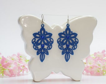 Chandelier earrings, Blue earrings, Embroidery lace, Wedding jewelry, Blue lace, Vintage earrings, Floral earings, Lace gift for her