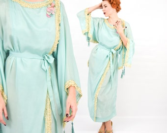 1900s Turquoise Silk Dressing Gown | Blue Silk Lace Trimmed Robe