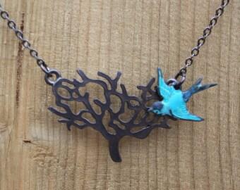 Black Tree Necklace with Blue Bird, Gift, Everyday Jewelry. Winnter Tree Necklace, Bird Necklace, Hand Patina Bird, Bridesmaids Gift