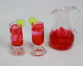 Miniature Glass Pitcher with Drink Glasses, Ice & Red Juice, Handmade, Dollhouse, Miniature Garden, Fairy Garden, Kawaii