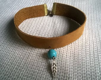Handmade leather choker necklace with a turquoise stone