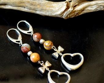 Faceted Ocean Jasper Love Open Heart Bow Dangle Drop Sterling Silver Lever Back Earrings