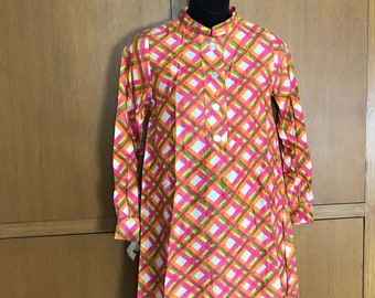 Deadstock 1960s Nora Lee Dress Mini Mandarin Collar Long Sleeves Faux Front Tab w/Buttons Beige Orange Pink Yellow Green Bust 36