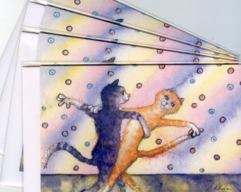 4 x cat greeting cards silver ginger tabby dancing dancers strictly ballroom dancing partners in harmony Susan Alison watercolor painting