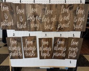 Rustic custom wood sign 1 Corinthians 13:4-8 Love is Patient Set of 11 signs