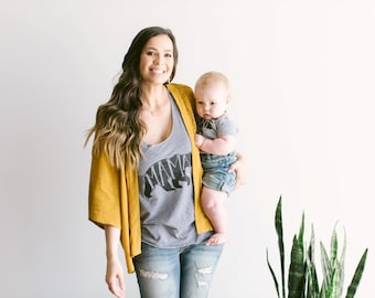 Mama Bear Tank • Hand Lettered Unique Mama Bear Typographic Bear Tank for Mama • Tri-Blend Gray Mama Tank • Mother's Day • FREE SHIPPING